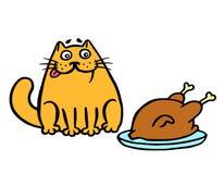 坐桌和看炸鸡的橙色猫 也corel凹道例证向量 库存例证