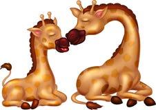 坐滑稽的斑马的动画片亲吻她的有微笑的儿子 免版税库存图片