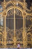 坐由盛大Palais的门的妇女在巴黎 库存图片