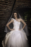 坐由窗口的美丽的新娘在葡萄酒库里 库存图片
