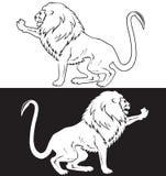 坐的狮子标志黑色阿那白色 免版税库存图片