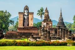 坐的Budha在Wat Mahathat, Sukhothai,泰国。 免版税库存照片