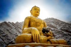 坐菩萨雕象特写镜头  zanskar的谷 Leh拉达克 图库摄影