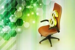 坐行政椅子的美元的符号 库存图片