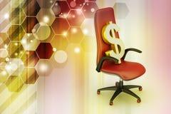 坐行政椅子的美元的符号 库存照片