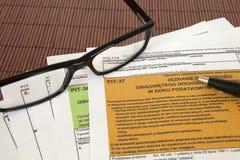 坑声明-波兰税文件 库存图片