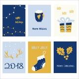 6块假日卡片模板的汇集 被设置的圣诞节海报 库存照片