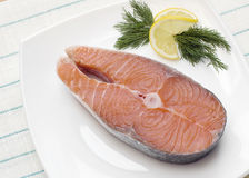 1块原始的鲑鱼排 免版税库存图片