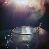 结块咖啡杯子板匙子二 库存图片