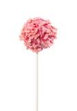 结块在桃红色釉和桃红色巧克力片的流行音乐 免版税图库摄影