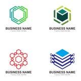 块式链和隐藏货币商标设计 向量例证