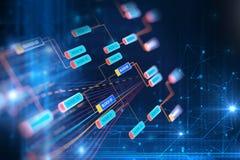 块式链在技术背景的网络概念 免版税库存图片