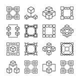块式链象 16个传染媒介blockchain标志的汇集 向量例证
