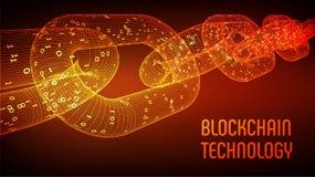 块式链 隐藏货币 Blockchain概念 3D与数字式代码的wireframe链子 编辑可能的Cryptocurrency模板 股票ve 图库摄影