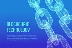 块式链 隐藏货币 Blockchain概念 3D与数字式代码的wireframe链子 编辑可能的Cryptocurrency模板 股票ve 免版税图库摄影