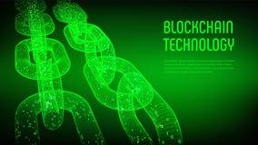 块式链 隐藏货币 Blockchain概念 3D与数字式代码的wireframe链子 编辑可能的Cryptocurrency模板 股票ve 免版税库存图片