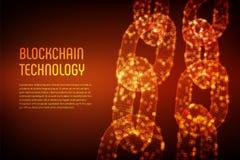 块式链 隐藏货币 Blockchain概念 3D与数字式块的wireframe链子 编辑可能的Cryptocurrency模板 股票 图库摄影