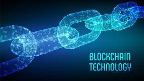 块式链 隐藏货币 Blockchain概念 3D与数字式块的wireframe链子 编辑可能的Cryptocurrency模板 股票 免版税库存图片