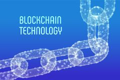 块式链 隐藏货币 Blockchain概念 3D与数字式块的wireframe链子 编辑可能的Cryptocurrency模板 股票 免版税图库摄影