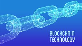 块式链 隐藏货币 Blockchain概念 3D与数字式块的wireframe链子 编辑可能的Cryptocurrency模板 股票 免版税库存照片