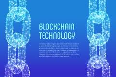 块式链 隐藏货币 Blockchain概念 3D与数字式块的wireframe链子 编辑可能的Cryptocurrency模板 股票 库存图片