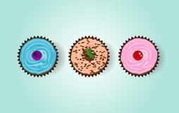 3块杯形蛋糕 免版税库存图片