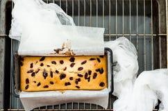 结块用在烘烤盘的干莓果在栅格 库存照片