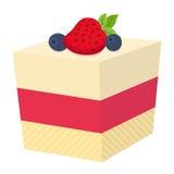 结块用莓果、杯形蛋糕用草莓和黑莓,平的样式 免版税库存图片