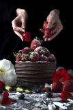 结块用装饰用草莓和花的巧克力 免版税图库摄影