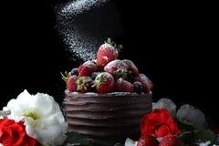 结块用装饰用草莓和花的巧克力 库存图片