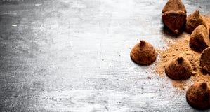 块菌状巧克力用可可粉 库存图片