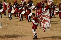块菌的开始公平在晨曲(库尼奥),举行了超过50年,驴种族 免版税图库摄影
