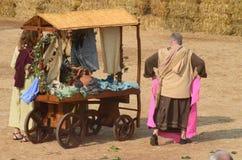 块菌的开始公平在晨曲(库尼奥),举行了超过50年,驴种族 免版税库存照片