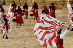 块菌的开始公平在晨曲(库尼奥),举行了超过50年,驴种族 库存照片