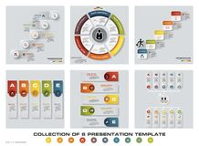 6块设计五颜六色的介绍模板的汇集 EPS10 套infographics设计传染媒介和企业象 库存照片