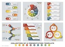 6块设计五颜六色的介绍模板的汇集 EPS10 套infographics设计传染媒介和企业象 免版税库存图片