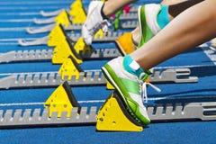 块赛跑者起始时间 免版税库存图片