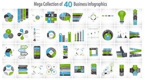 40块Infographic模板的汇集为 免版税库存照片