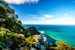 坚固性岩石和开普角峭壁好望角自然保护的 免版税库存图片