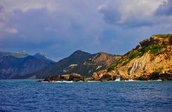 坚固性希腊海岛海岸线,扎金索斯州,希腊 免版税库存图片
