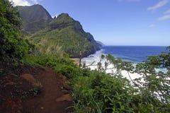 坚固性海岸线和峭壁沿考艾岛,夏威夷Kalalau足迹  免版税库存照片