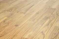 坚实柚木树木地板木条地板 免版税库存图片
