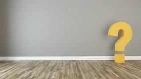坚实3d问号在空的屋子 免版税库存图片