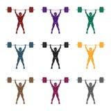 坚强的举重运动员提高在健身房的标准 运动员练习巨大的举重 激活炫耀在黑样式的唯一象 向量例证