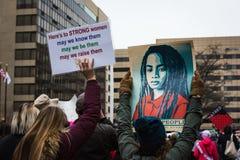 坚强的妇女-妇女3月-华盛顿特区 库存图片