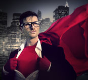 坚强的超级英雄专业领导企业概念 库存照片