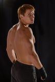 坚强的年轻男性拳击手背面图  库存图片