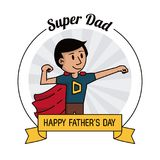 坚强超级爸爸的英雄 愉快的父亲节庆祝卡片 皇族释放例证