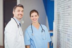 坚持在墙壁上的快乐的医生画象图 免版税库存图片