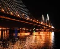坚持的大桥梁电缆晚上彼得斯堡st 免版税库存照片